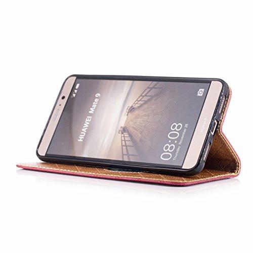 Yiizy Huawei Mate 9 Funda, Amar Diseño Solapa Flip Billetera Carcasa Tapa Estuches Premium PU Cuero Cover Cáscara Bumper Protector Slim Piel Shell Case Stand Ranura para Tarjetas Estilo (Rojo)