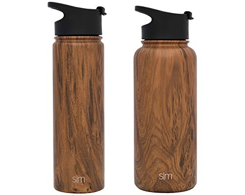 Simple Modern 22 oz Summit Water Bottle - Stainless Steel Hydro Metal Flask +2 Lids - Wide Mouth Double Wall Vacuum Insulated Large 2 Liter Half Gallon Cold Leakproof Thermos - Wood Grain by Simple Modern (Image #9)