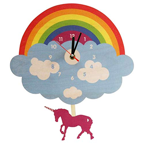 xushihanjjli Wall Clocks Rainbow Cloud with Swinging Unicorn Laser Cut Wooden Magical Unicorn Unicorn Bedroom Pendulum Can Well Decorate Home Office Coffee Bar Hotel Restaurant