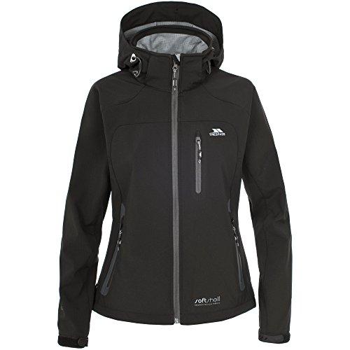 Trespass- Chaqueta de deporte cortavientos con capucha para mujer Negro