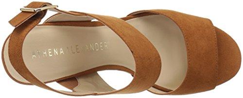 Athena Alexander Womens Slayte Sandalo Con Zeppa Marrone Chiaro / Scamosciato