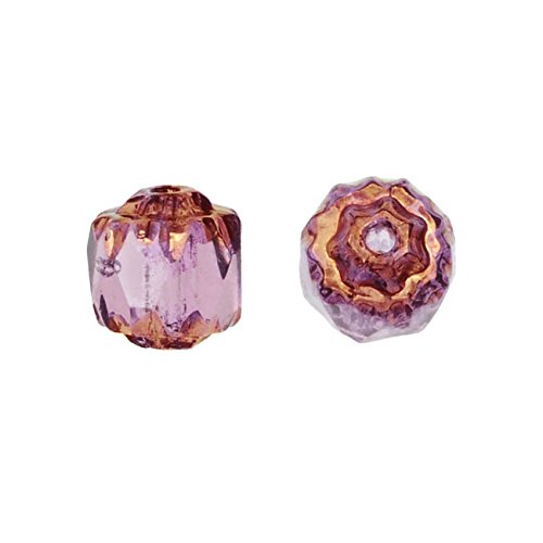 Czech Glass, Cathedral Beads 6mm, 25 Pieces, Amethyst with Antiqued Bronze Ends