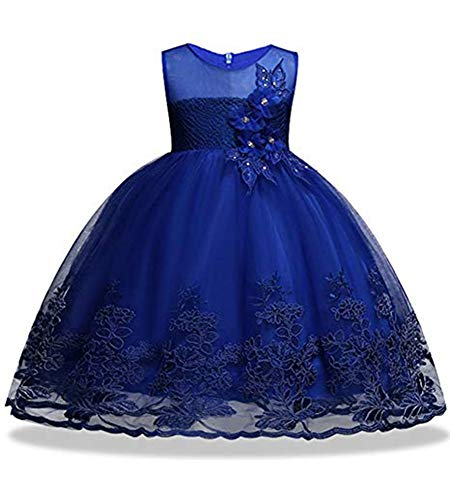 Flower Elegant (Sequin Lace Flower Baby Girl Dresses Princess Pageant Elegant Tulle Gowns Pageant Knee Sleeveless (Sapphire, 110))