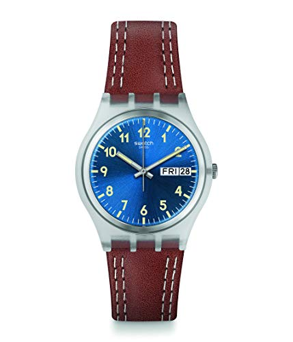 Swatch 1709 Time (Core) Quartz Leather Strap, Brown, 16 Casual Watch (Model: GE709)