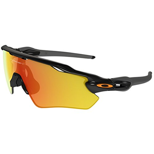 Oakley Men's Radar Ev Path Non-Polarized Iridium Rectangular Sunglasses, Polished Black w/Fire Iridium, 138 - Iridium Polarized