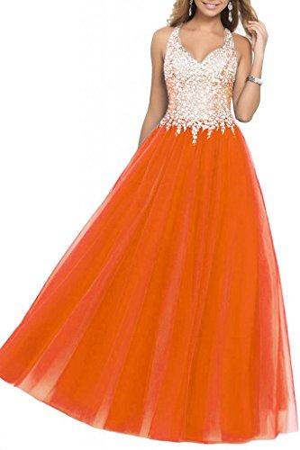 orange a line prom dress - 2