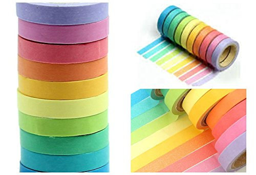 Rainbow Washi Tape Set of 20 Decorative Craft Tape for Scrapbooks Planners, Colored Washi Masking Tape 10 Colors (Custom Line Banner 2)