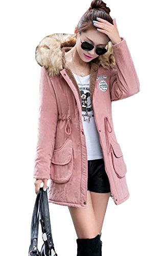 Xiang Drawstring Pink Ru Collar Long Hooded Women Jacket Thick 7HgxZq17n