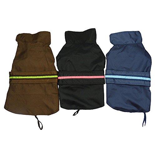 Waterproof Pet Rain Coat Jacket Fleece Lined LED Reflective Vest Clothes Size X-Large XL Blue