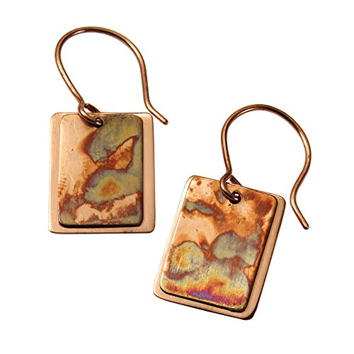 Women's Flamed Copper Rectangle Earrings - Hang 1 3/8