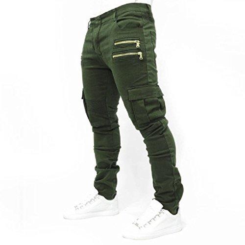 Men's Trousers Wish Men's Folding Elastic Jeans Cotton spot Trousers,Green,L by Puissant Pants (Image #1)