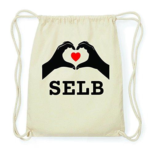 JOllify SELB Hipster Turnbeutel Tasche Rucksack aus Baumwolle - Farbe: natur Design: Hände Herz