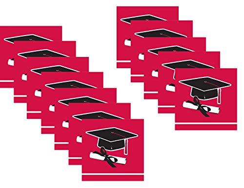 Graduation Red and Black Beverage/Cocktail Paper Napkins Bundle - 72 Total