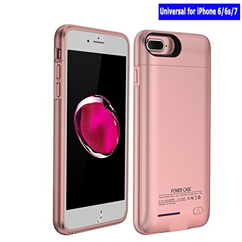 3000mAh Magnetic Battery Charger Case For iPhone 7 iPhone 6s iphone 6 iPhone 8 4.7 Battery Case Rechargeable Backup Battery Power Bank Charger Case, Magnet bracket (Rose Red/Pink)