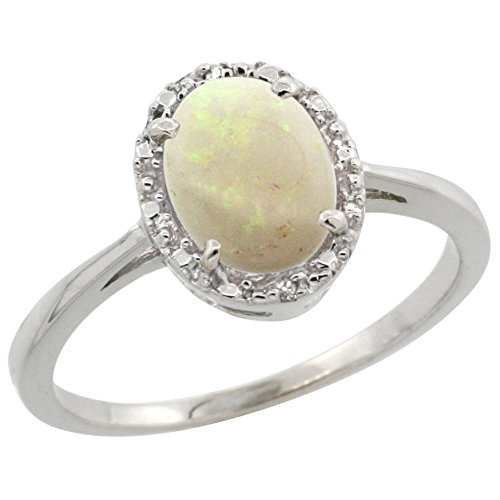 14K White Gold Natural Opal Ring Oval 8x6 mm Diamond Halo, size 10 by Silver City Jewelry