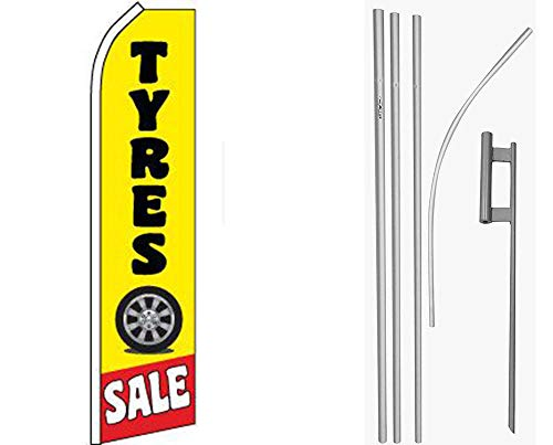 MWS Tyres Sale Yellow/Black Swooper Flag & 16ft Flagpole Kit/Ground Spike