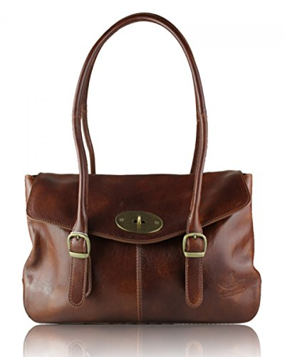 Size Bag bag Pockets Lady Multiple Long Bags Genuine Strap Brown Sale Italian Womens Leather And Women's Shoulder Medium New With cFw8c7OqAf