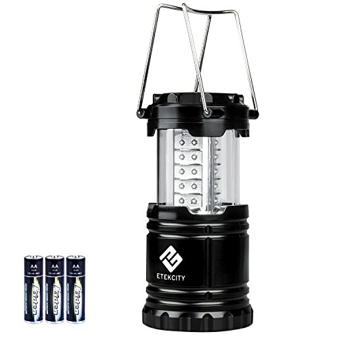 Etekcity Portable LED Camping Lantern Ultra Bright with 3 AA Batteries (Black, Collapsible)