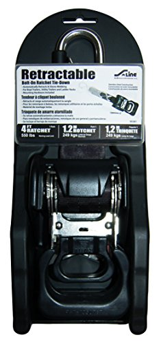 S-Line 95381 Hd Bolt-On Retractable Ratchet Tie Down, Stainless Steel S-Hooks with SAFETY Clip, 1-7/8-Inch x 4-Foot by S-Line (Image #1)