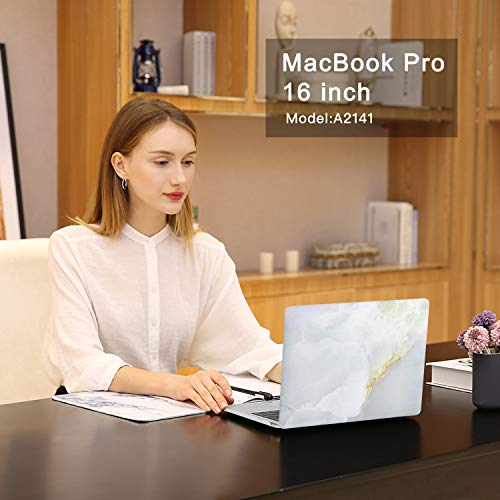 MOSISO MacBook Pro 16 inch Case 2019 Release A2141 with Touch Bar & Touch ID, Plastic Pattern Hard Shell Case & Keyboard Cover & Screen Protector Compatible with MacBook Pro 16, Jade Marble