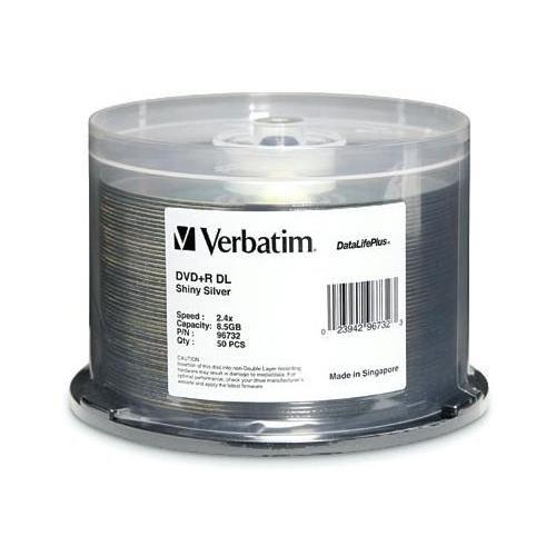 Verbatim 96732 DVD+R Dual Layer (DVD/R DL) 2.4X-6X Silver Shiny Double Layer DVD Plus R Blank Media Discs in 50 Pack Cake Box # 96732