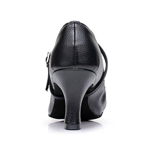 Cdsodance Mujeres Pu Zapatos De Baile Moderno Tacón 2.76 Pulgadas Negro - 2,16 Pulgadas De Tacón