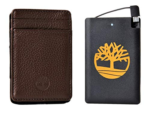 Timberland Men's Front Wallet With Pocket Charger Set Brown