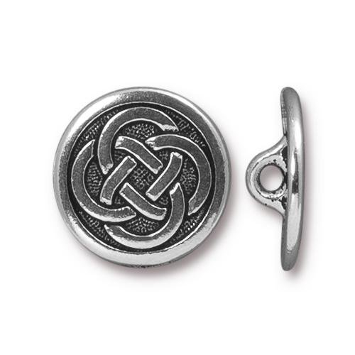 Celtic Knot Button 16.5m Antique Silver Plated