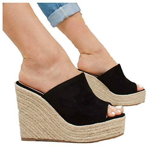 LAICIGO Women's Espadrilles Mule Wedges Platform Peep Toe Slip-on Snake Print Summer Slides