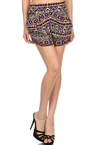 Elegant4U Junior's New Sexy Brightly Colored Abstract Aztec Diamonds Mini Harem (Aztec Printed Shorts)