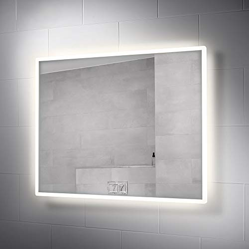 Pebble Grey 28 x 36 Inch Bathroom Vanity Mirror with LED Illuminated -