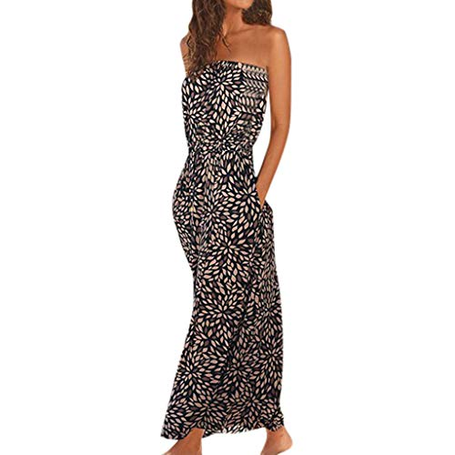(aihihe Off Shoulder Dresses for Women Summer Casual Long Strapless Boho Solid Beach Maxi Dress with Pockets(Multicolor,M) )