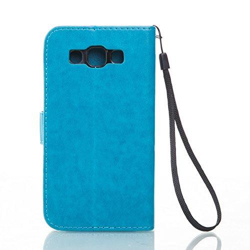 SRY-Funda móvil Samsung Funda Samsung Galaxy J2, estuche rígido retro de folio en forma de caja con correa para la mano Funda Protecitve Shell para Samsung Galaxy J2 ( Color : Rose Red , Size : SAMSUN Blue