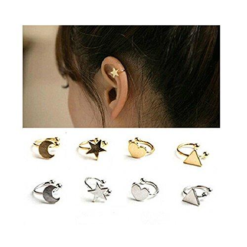 LIAOYLY No Pierced Non-Piercing Earcuff Ear Star Moon Heart Triangle Clip-On Clip Earrings For Women as picture Moon ()
