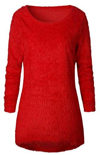 Maglia S Morbido Delle Panno Di A amp; W M Solido Del Colore Rosso Donne amp; Casuale Maglione Pullover 8w5wqxP