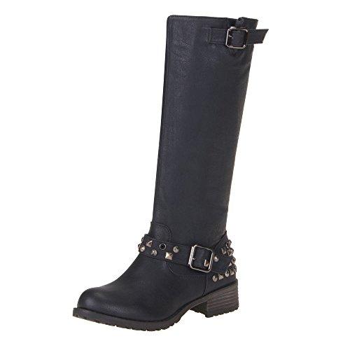 5450f0b4ad6506 Juliet Stylischer Damen Biker Boot Stiefel mit Nieten Damenstiefel  Damenschuhe Schwarz V1587 (40)  Amazon.de  Schuhe   Handtaschen