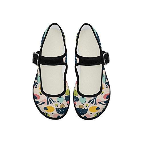 Interestprint Womens Comfort Mary Jane Flats Casual Scarpe Da Passeggio Ombrello, Cuori E Pioggia Drop 8 B (m) Us