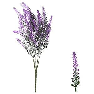 DiDaDi 4 Pcs Artificial Flowers Flocked Lavender Bouquet Romantic Fake Lavender Bunch in Purple Artificial Plant for Home Wedding Garden Decor 3