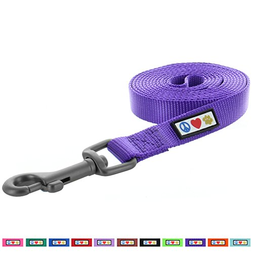 Pawtitas Pet Soft Adjustable Solid Color Nylon Puppy / Dog Leash 6 feet Extra Small / Small 5/8 Inch (Purple Adjustable Dog Collar)