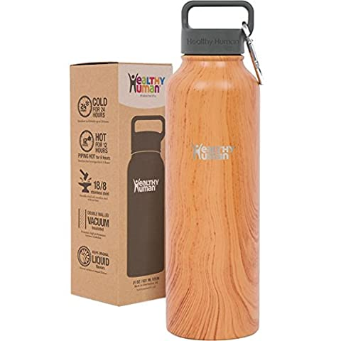 Healthy Human 40 oz Water Bottle - Cold 24 Hrs, Hot 12 Hrs. 4 Sizes & 12 Colors. Double Walled Vacuum Insulated Stainless Steel Thermos Flask with Carabiner & Hydro Guide. Color: Natural Wood