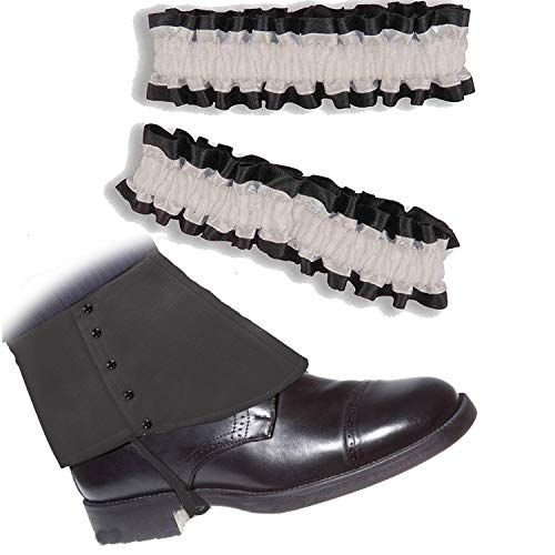 Roaring 20's Armband Garter & Gangster Spats Set for 1920s Mens Accessory (OneSize, Black Spats & Black/White Garter)]()