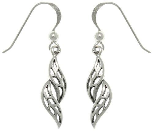 Sterling Swirling Flower Earrings - Jewelry Trends Sterling Silver Swirling Leaf Dangle Earrings