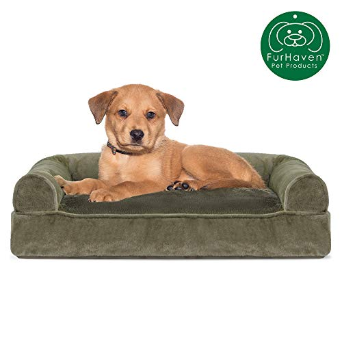 Furhaven Pet Dog Bed | Faux Fur & Velvet Pillow Cushion Traditional Sofa-Style Living Room Couch Pet Bed w/ Removable Cover for Dogs & Cats, Dark Sage, Small