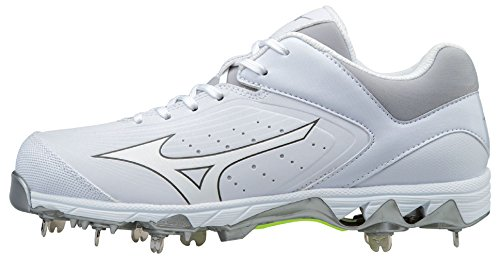 Mizuno Women's 9-Spike Swift 5 Metal Softball Cleats - White & White (Women's Size 10)