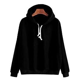 Women Hoodies, Shybuy Women Solid Long Sleeve Casual Hooded Sweatshirt Pullover Drop Shoulder Hoodies Top Blouse