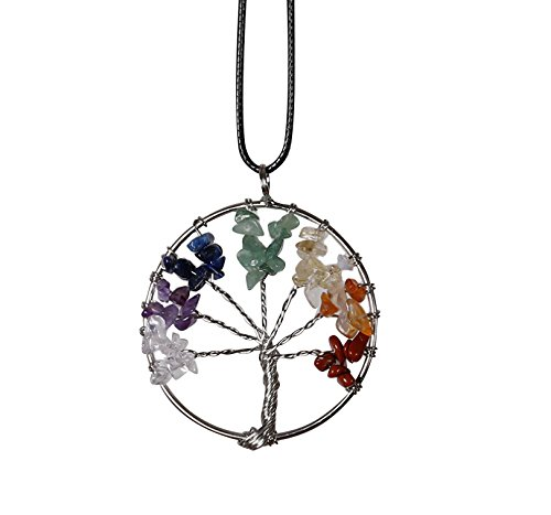 gloednApple Amulet Tree of Life Healing Crystal 7 Chakra Stone Pendant Necklace Wrapped Reiki Balancing Jewelry Gift for Baby Family Friend