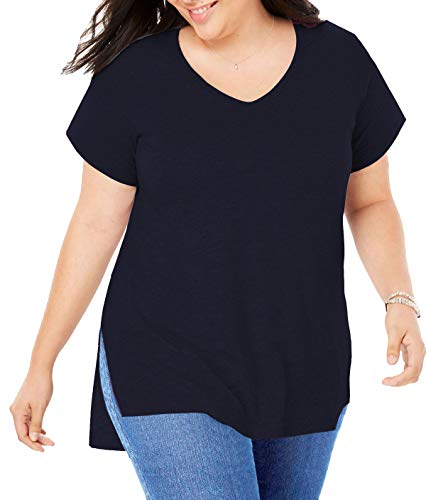(PARPERNA Womens Plus Size Tunic Tops Summer Basic tee Shirt Casual Blouses for Juniors Ladies)