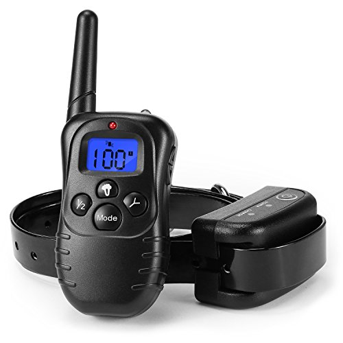 Dog Training Electric Shock Collar - BUIEJDOG 330Yds Remote Rechargeable Waterproof Blacklit Buttons and LCD Display with Beep/Vibration/Shock for Dogs by Buiejdog