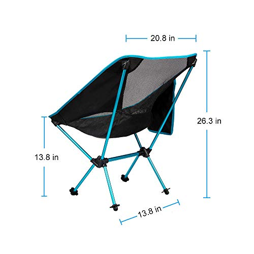 Zerllaug Folding Camping Chair, Lightweight Portable Backpacking Chair for Outdoor, Heavy Duty 271 lb Capacity with Carry Bag, Breathable and Comfortable