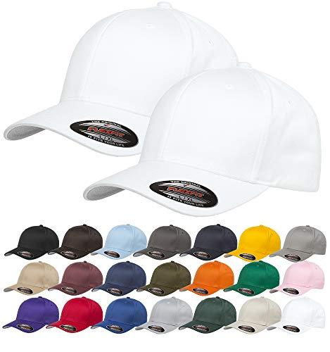 Set of 2, Flexfit White Cap Athletic Baseball Stretch Fitted Hat Men Ballcap 6 Panels Elastic Closure(Large/X-Large) ()